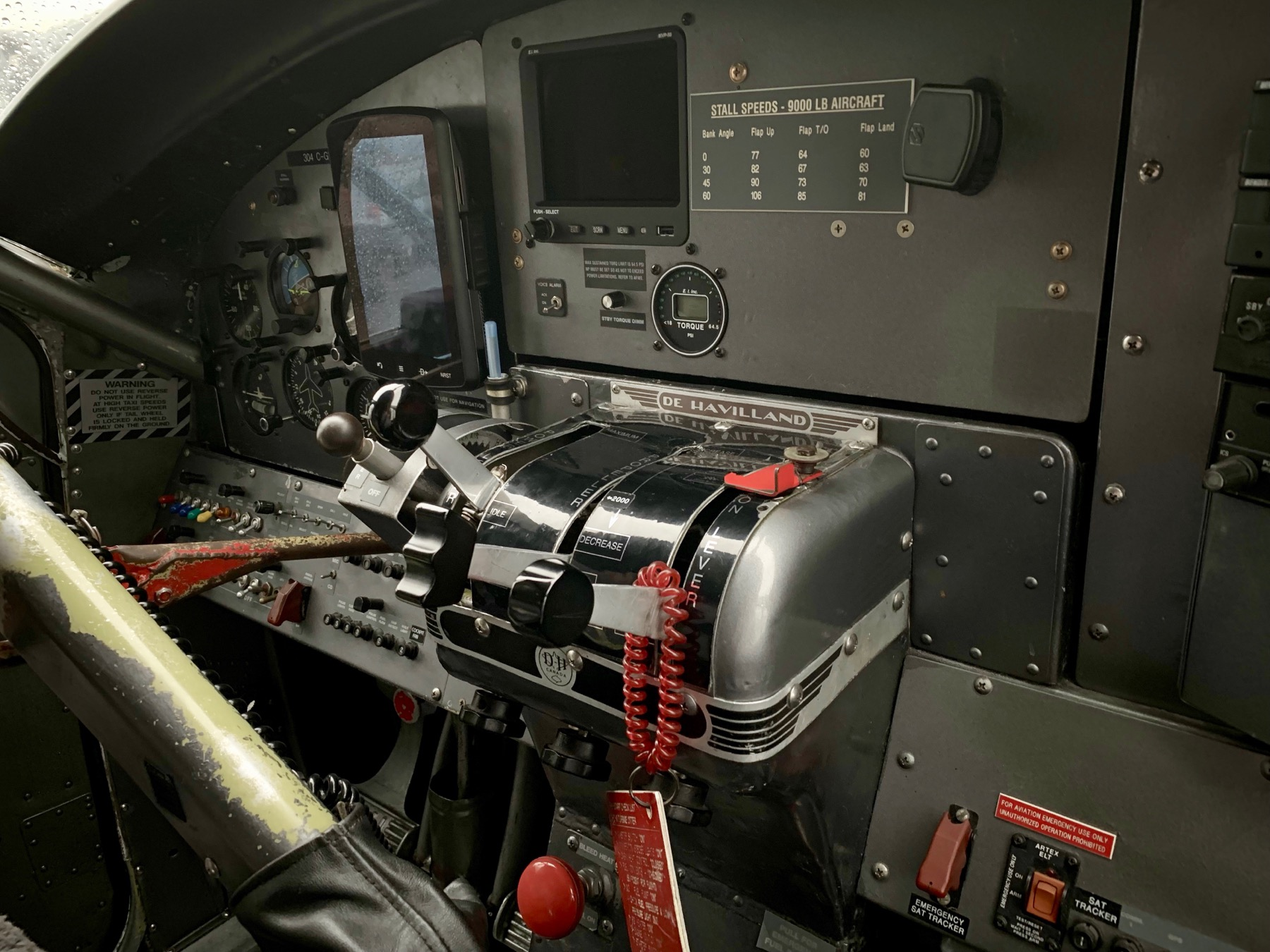 The controls for the float plane