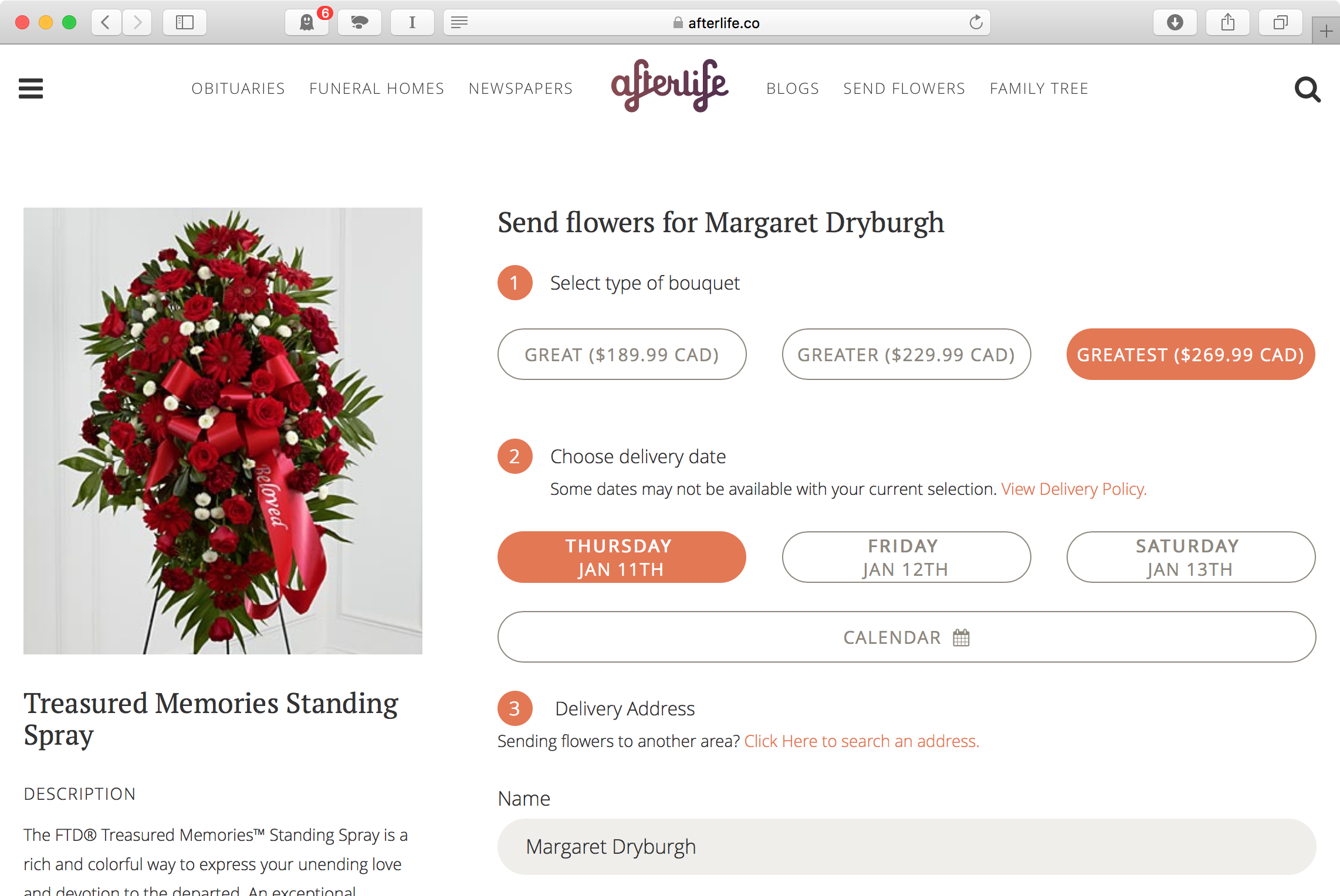Screenshot of purchase form for flowers