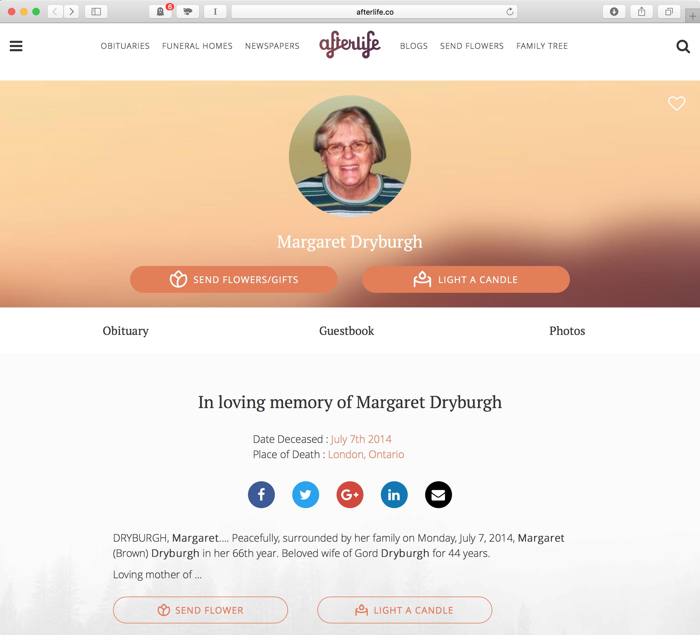 Screenshot of Margaret Dryburgh's on Afterlife.co