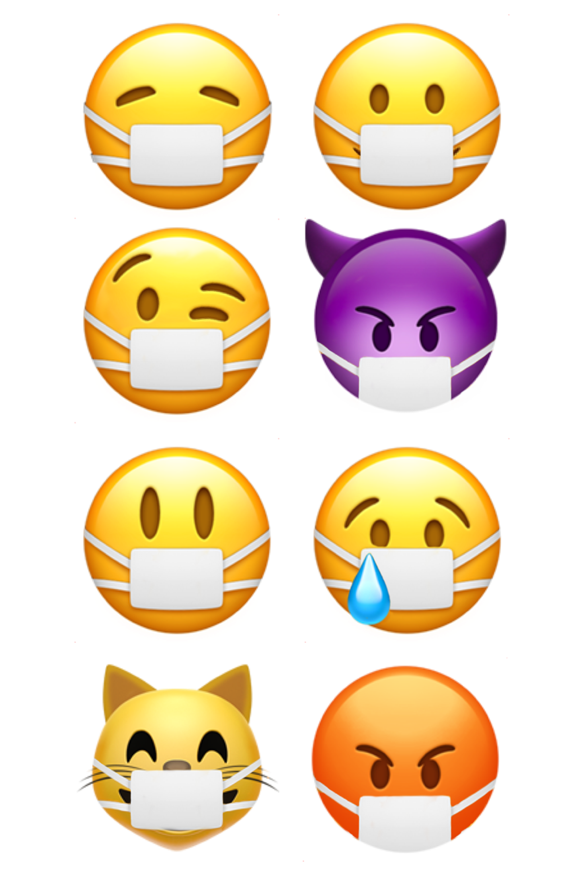 Original 'Face With Medical Mask' Emoji on the left, proposed 'Smiling Face with Medical Mask' on the right