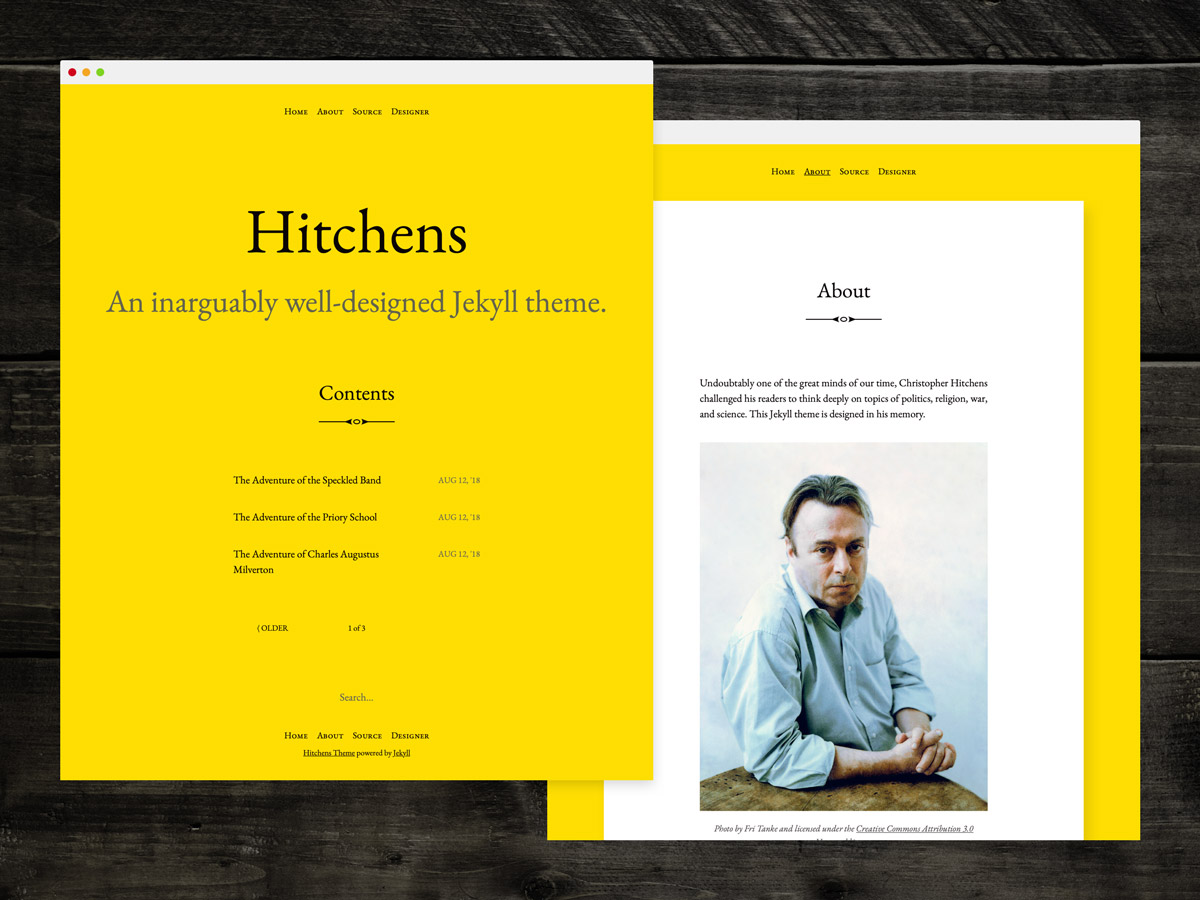 I designed and developed **Hitchens**, an open source Jekyll theme for writers
