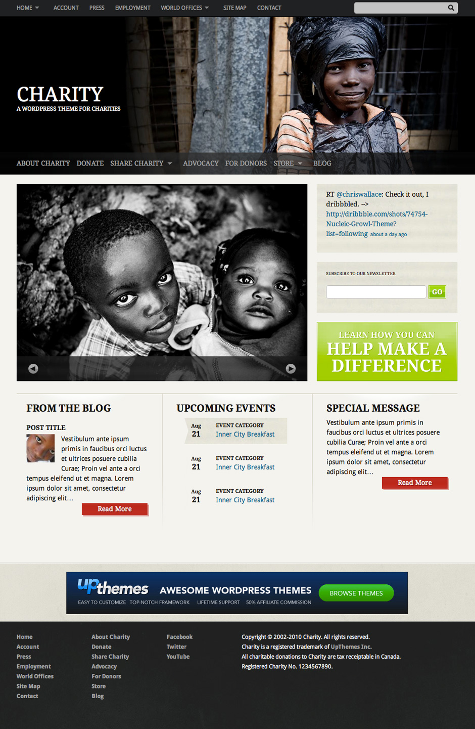 Screenshot of Premium Charity WordPress Theme for UpThemes
