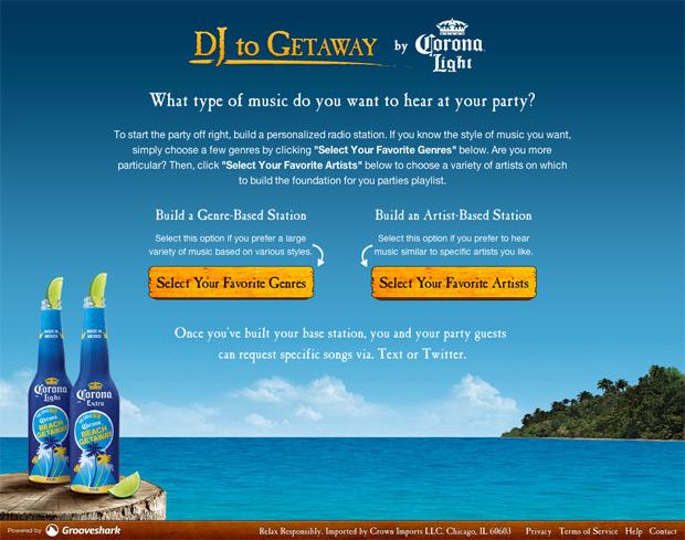 Screenshot of DJ to Getaway Application