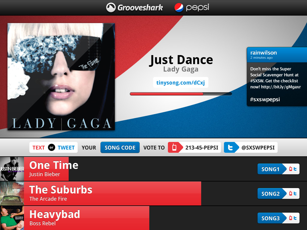 I designed a UI for crowdsourcing a party playlist for the **Grooveshark** and **Pepsi Max** party at SXSW 2011