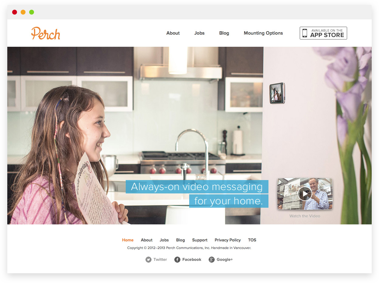 Perch 1.0 Marketing Site — Homepage Design & Photography