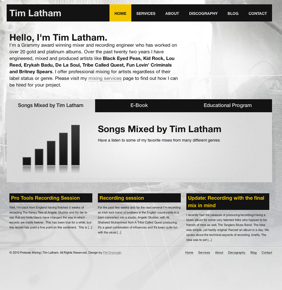 Screenshot of Website for Tim Latham